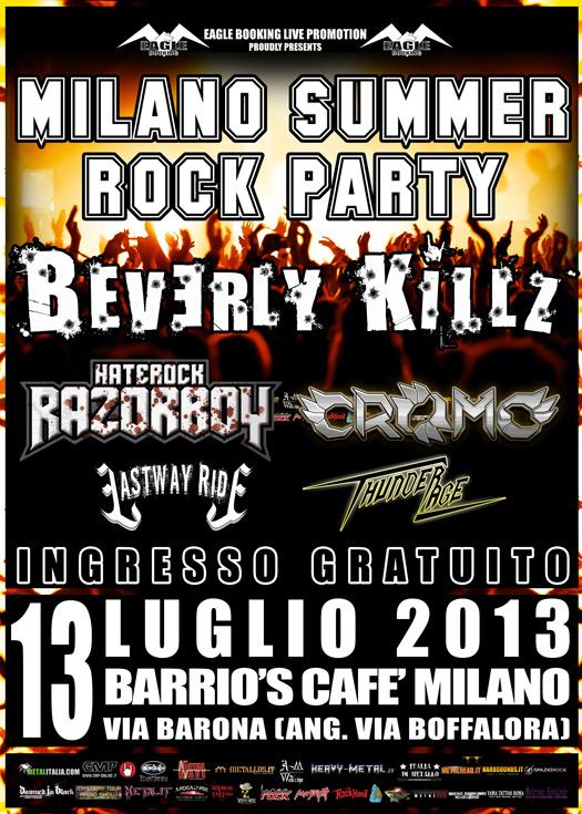 Milano Summer Rock Party: il 13 luglio al Barrio's