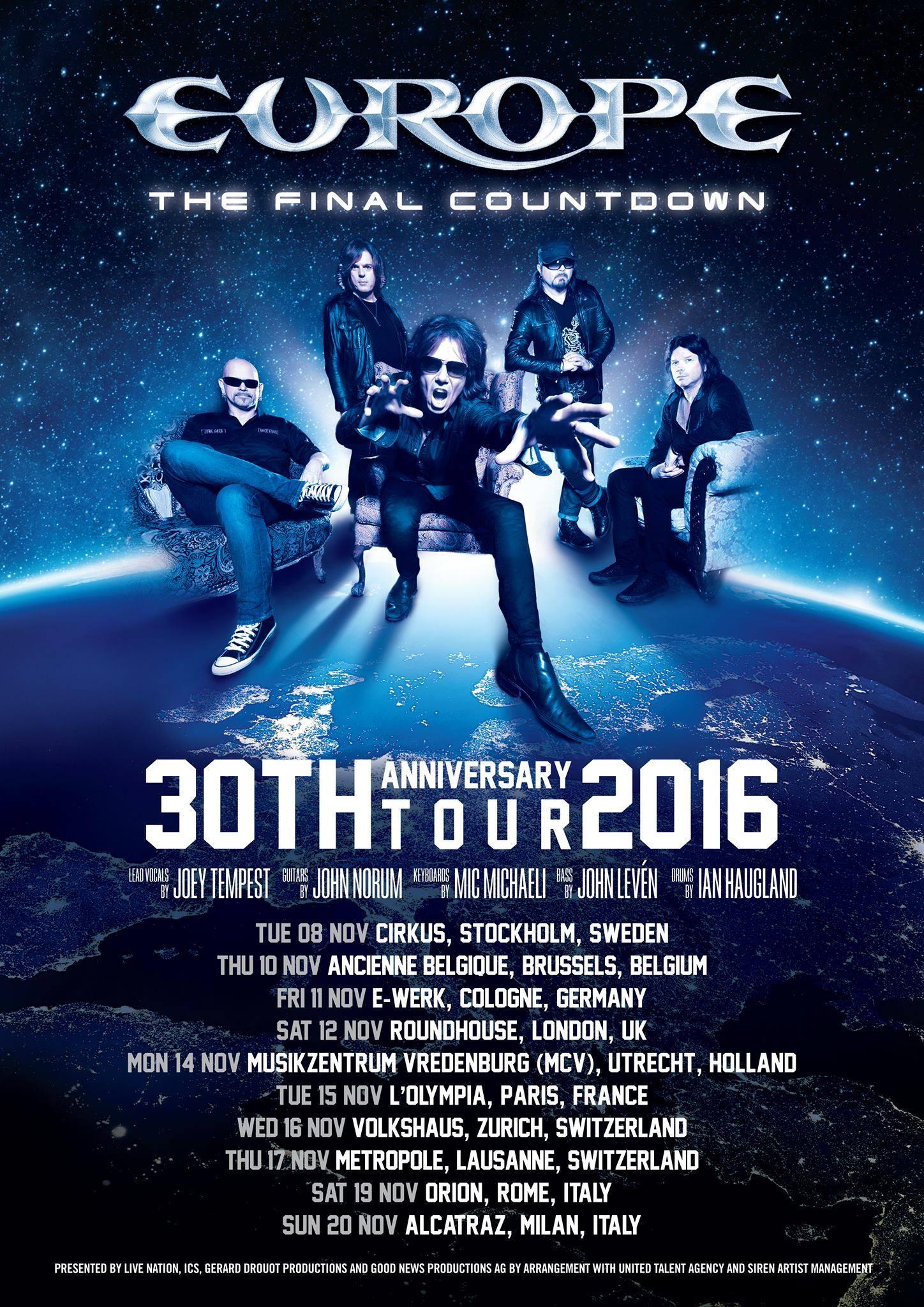Europe: festeggiano 30 anni di The Final Countdown con due date italiane